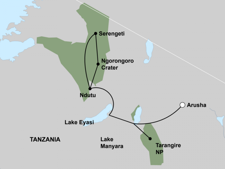 Tanzania Wildlife & Cultural Explorer Map