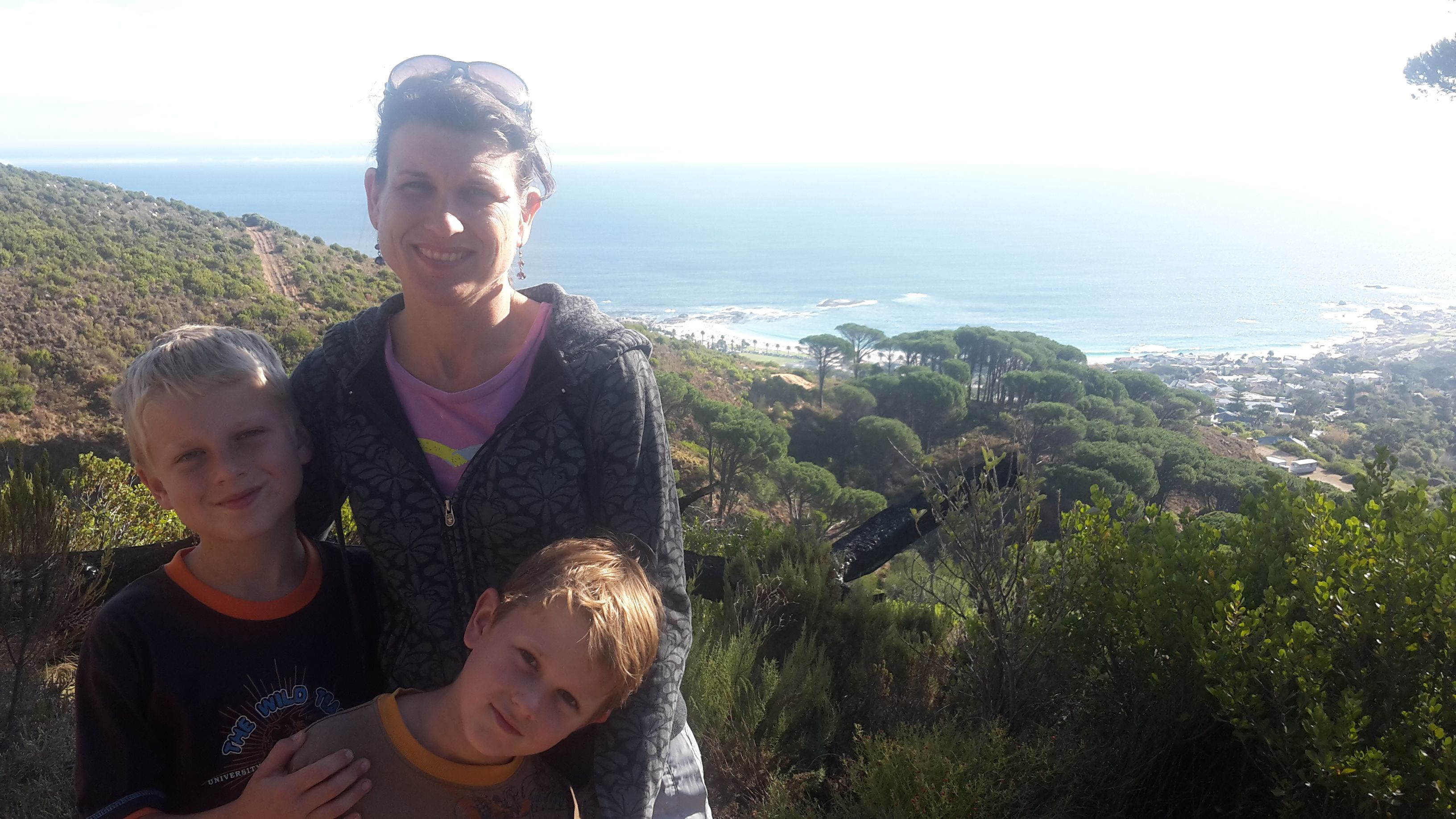 Sandra, Ross and Callum Jenman along the Pipe Trail with a beautiful view of Cape Town