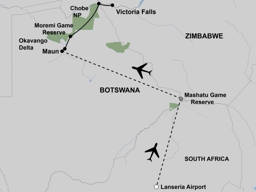 Botswana Safari & Cycling Map