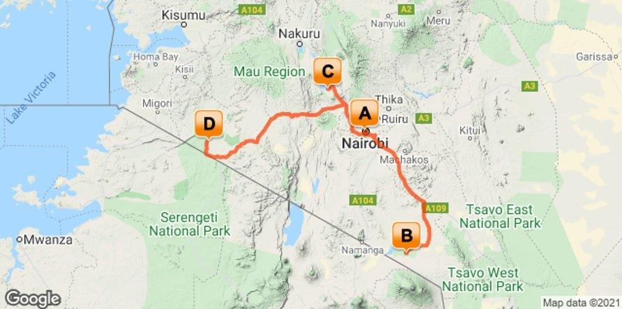 Kenya Safari Adventure Map